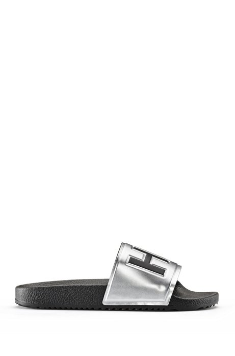 Logo slides with mirror-metallic strap and contoured footbed, Silver