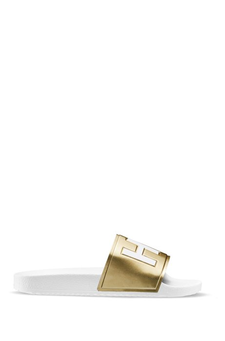 Logo slides with mirror-metallic strap and contoured footbed, Gold