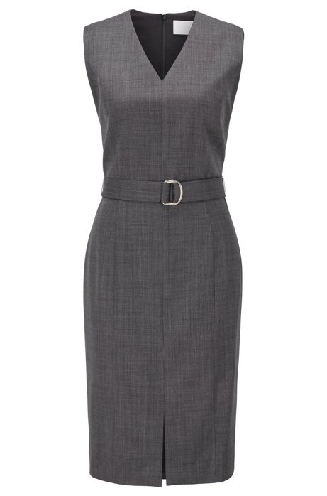 Sleeveless dress in checked super-stretch virgin wool, Dark Grey