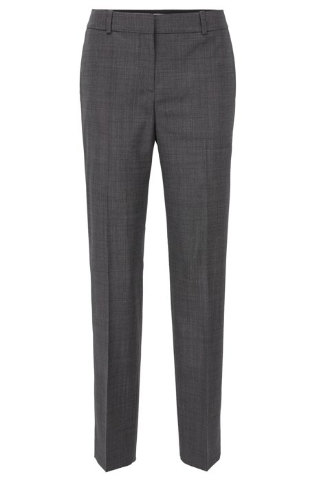 Relaxed-fit trousers in checked super-stretch virgin wool, Patterned