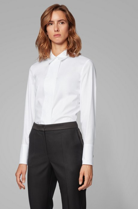 Regular-fit blouse with micro-dot design, White