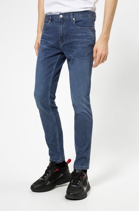 Jean Skinny Fit en denim bleu stretch confortable, Bleu