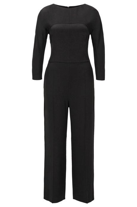 Regular-fit jumpsuit van diverse Italiaanse materialen, Zwart