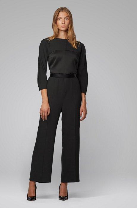 Regular-fit jumpsuit in mixed Italian fabrics, Black