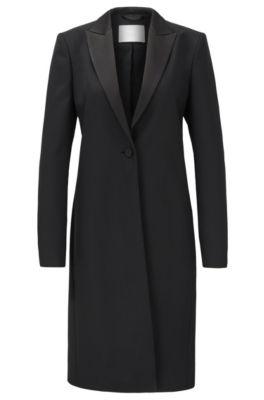 Regular-Fit Mantel aus italienischem Schurwoll-Twill im Smoking-Look, Schwarz