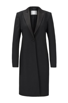 Tuxedo-style coat in Italian virgin-wool twill, Black