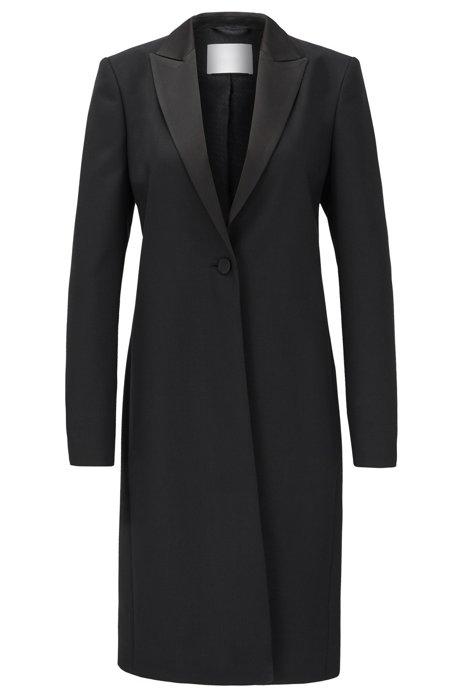 Manteau esprit smoking en twill de laine vierge italienne, Noir