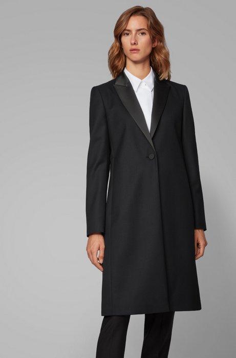 Cappotto in stile smoking in lana vergine italiana con trama twill, Nero