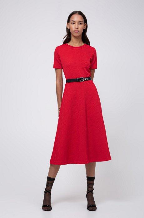 Midi-jurk in pied-de-poule jacquard met zichtbare ritssluiting, Rood