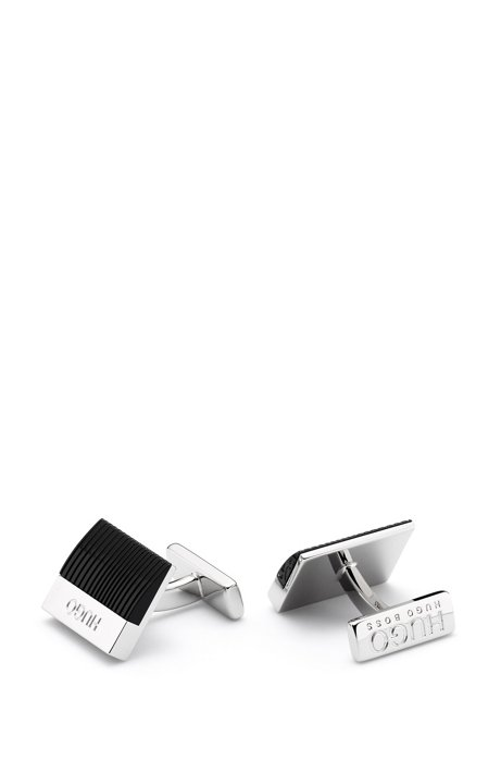 Rectangular logo cufflinks with ridged-enamel insert, Black