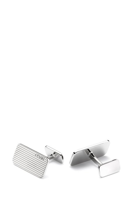 Rectangular metal cufflinks with etched lines, Silver