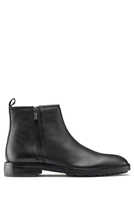 Ankle boots in grained leather with lug sole, Black