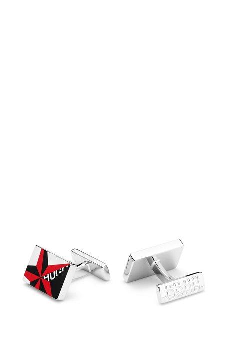 Rechteckige Manschettenknöpfe aus Messing mit Logo-Stern, Rot