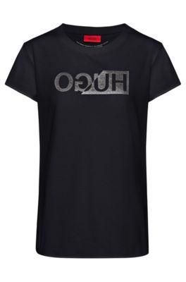 T-shirt Slim Fit à imprimé logo inversé pailleté, Noir