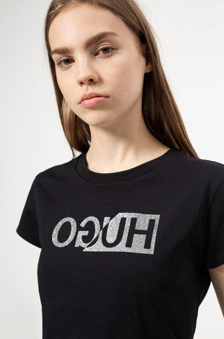 T-Shirt mit spiegelverkehrtem Logo-Print in Glitzer-Optik, Schwarz
