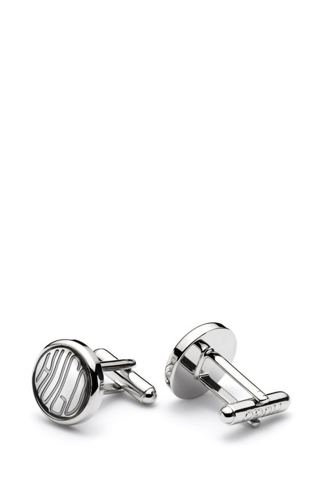 Round cufflinks with distorted logo, Silver