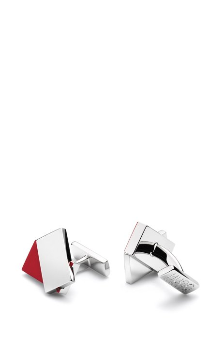 Modern rectangular cufflinks with two-tone finish, Silver