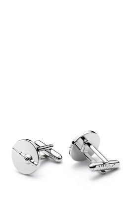 Tower cufflinks in highly polished brass, Silver