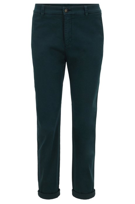 Chino court Regular Fit en satin de coton stretch, Vert sombre