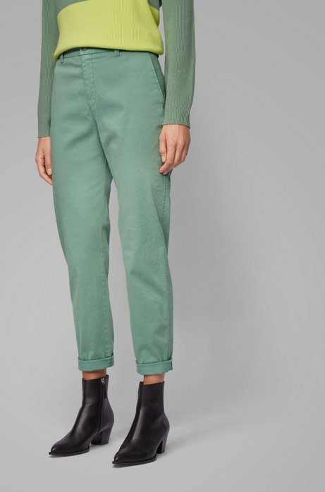 Regular-fit cropped chinos in stretch-cotton satin, Light Green
