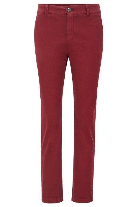Chinos regular fit de estilo tobillero en satén de algodón elástico, Rojo