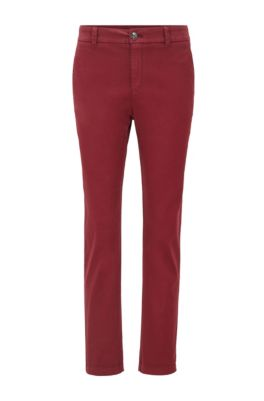 Chino court Regular Fit en satin de coton stretch, Rouge