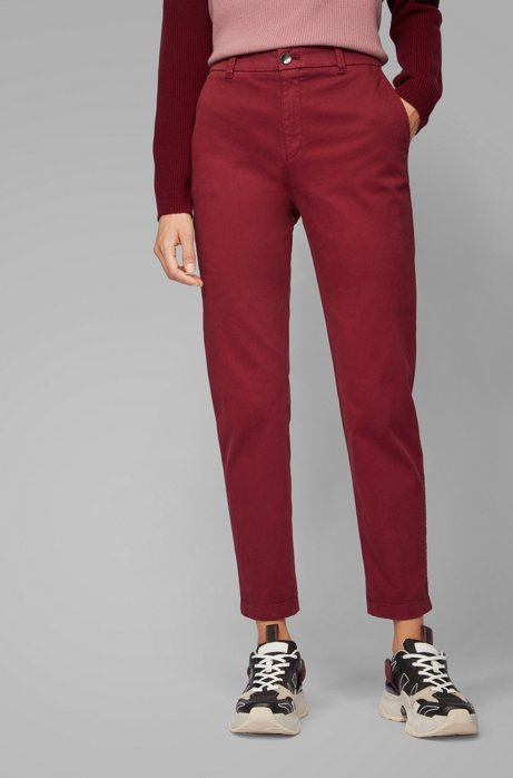 Regular-Fit Chino aus elastischer Baumwolle mit Satin-Finish in Cropped-Länge, Rot