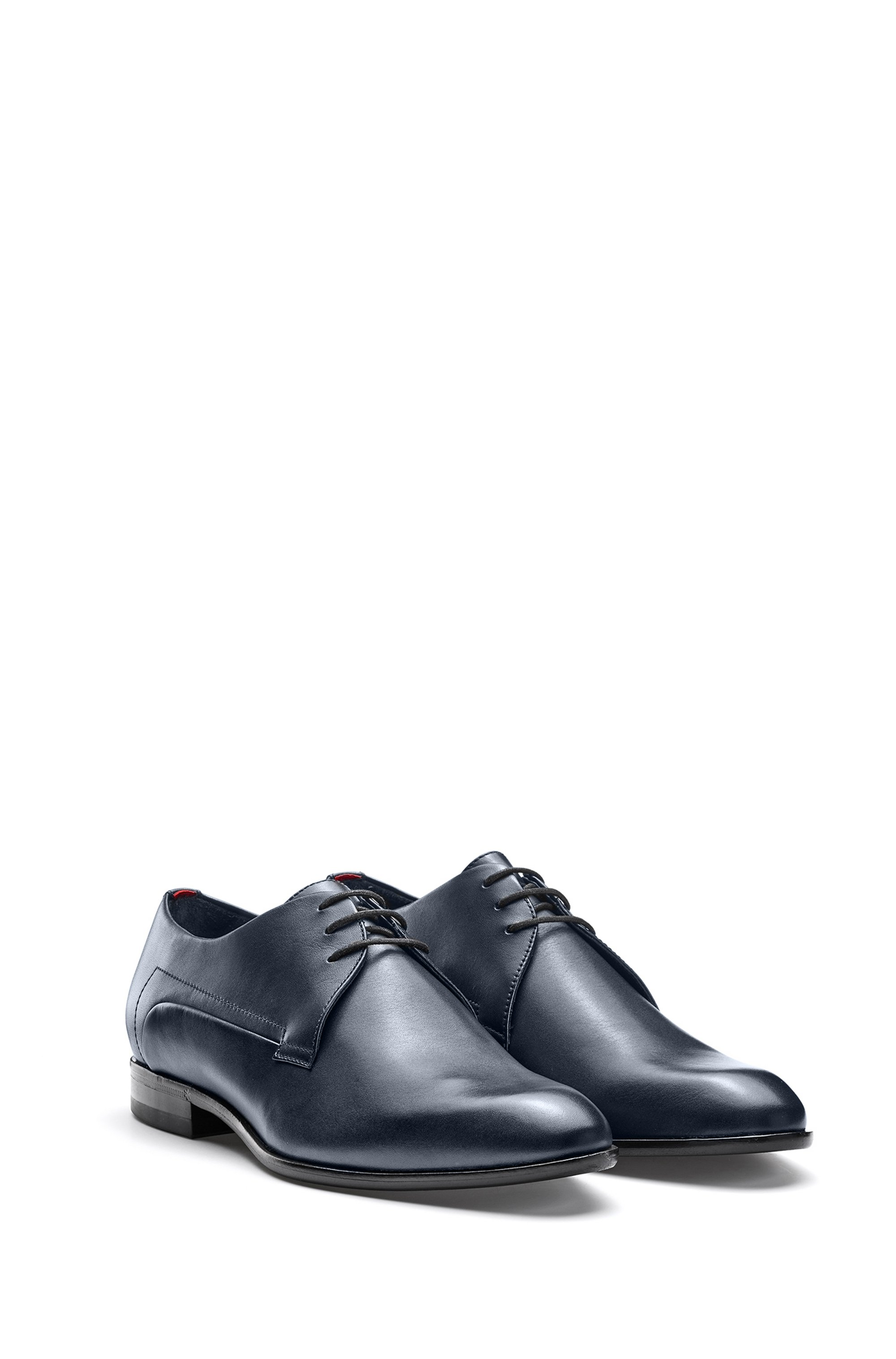 Derby shoes in smooth leather with rubber-injected sole
