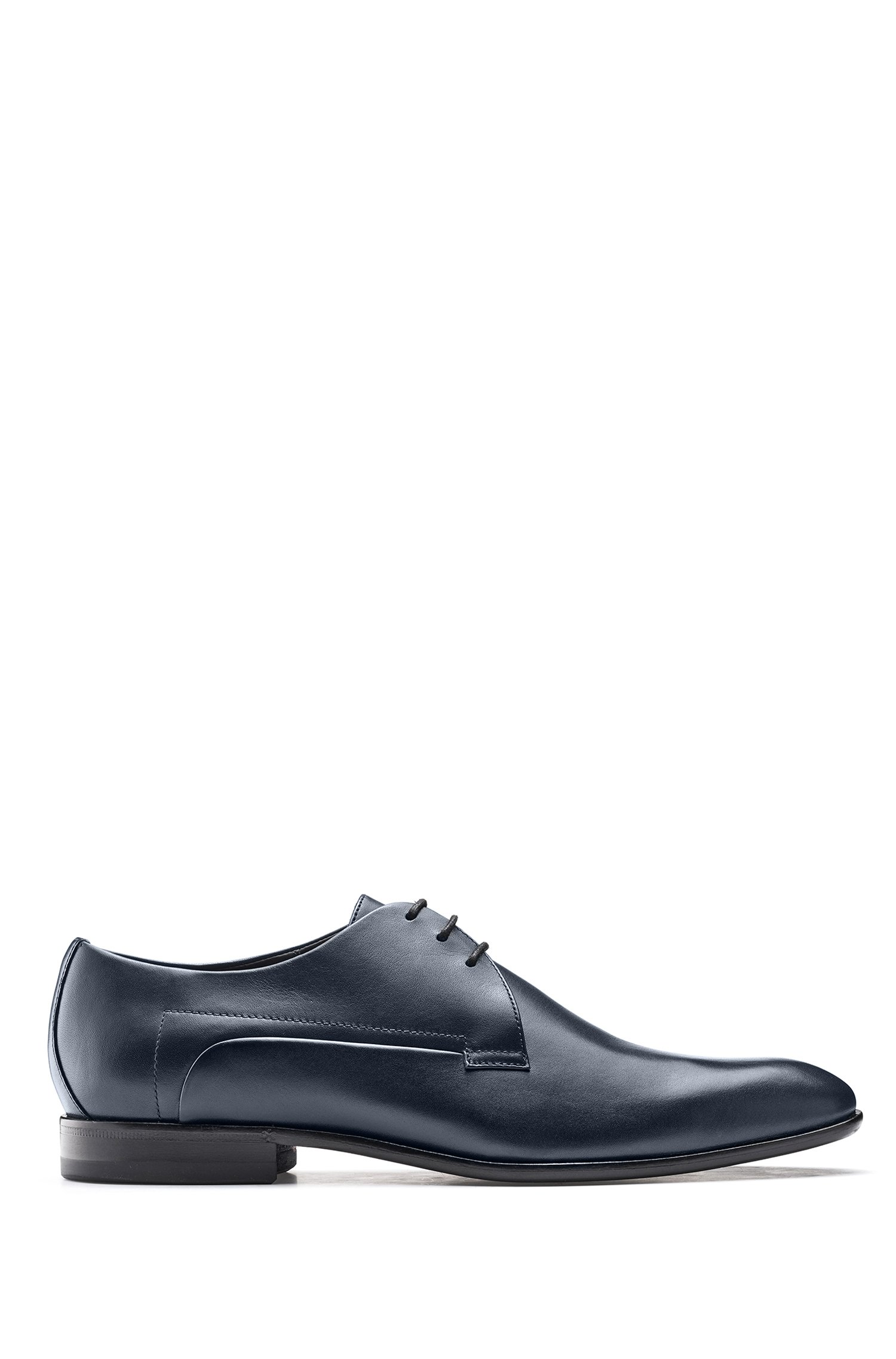 Derby shoes in smooth leather with rubber-injected sole, Dark Blue