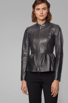 Slim-fit leather jacket with shirred waist, Black