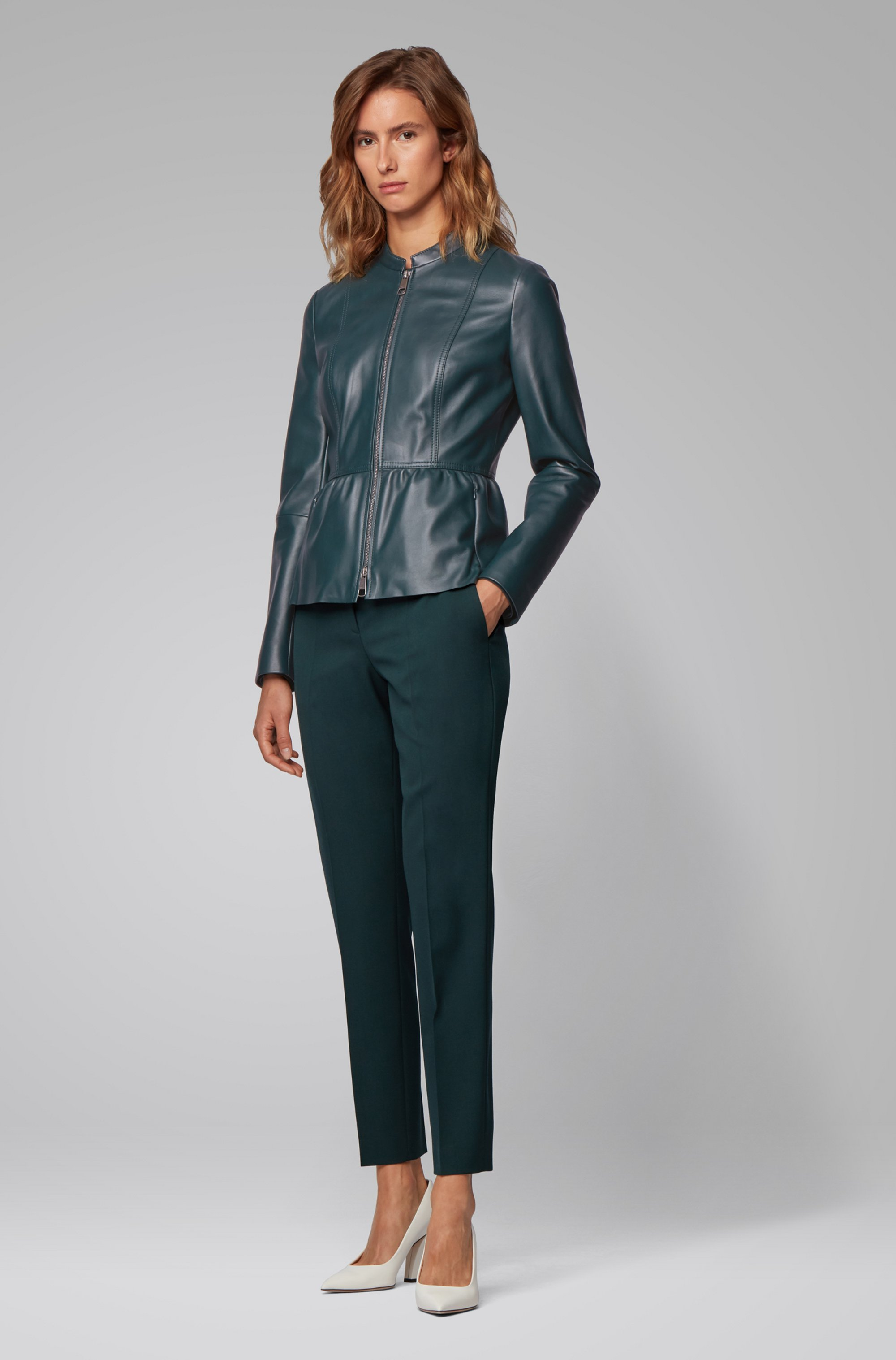 Slim-fit leather jacket with shirred waist