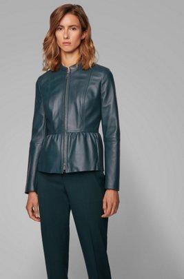 Slim-fit leather jacket with shirred waist, Dark Green