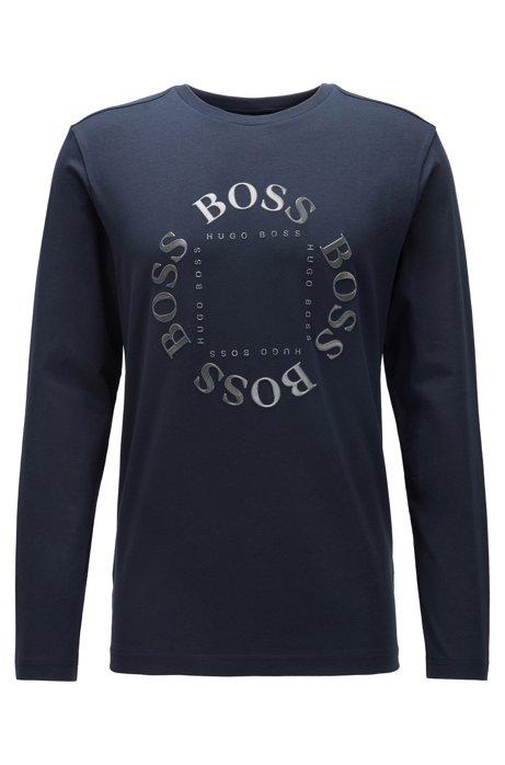 Regular-fit T-shirt in stretch cotton with layered metallic logo, Dark Blue