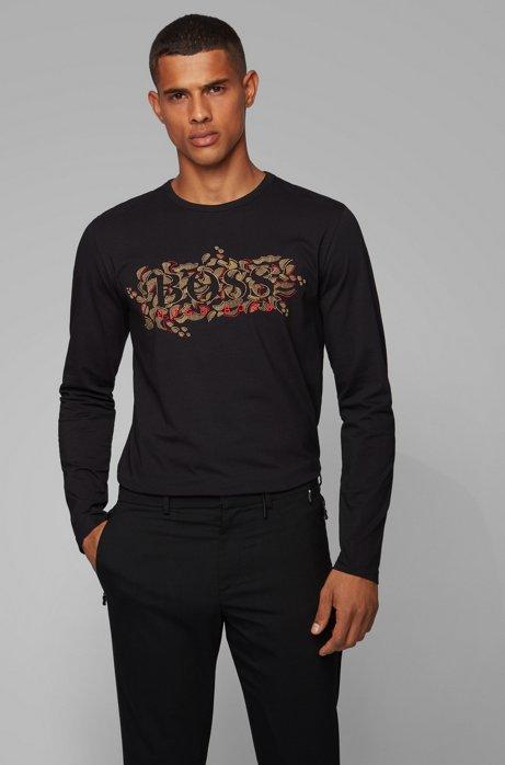Regular-fit T-shirt met Chinees Nieuwjaar-print, Zwart