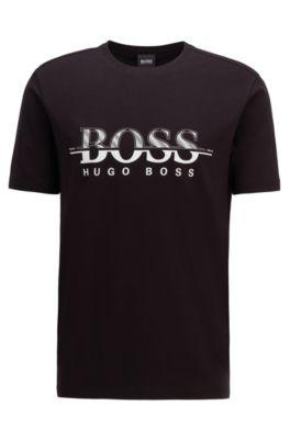 Logo-print T-shirt in stretch-cotton interlock jersey, Black