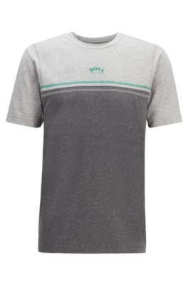 Camiseta de algodón elástico con pespuntes en contraste y logo curvado, Gris