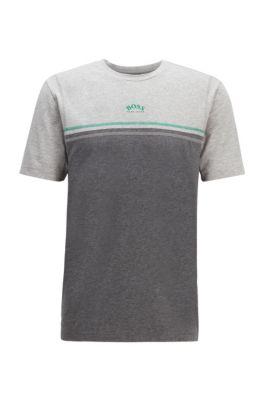 T-shirt en coton stretch à surpiqûres contrastantes et logo incurvé, Gris