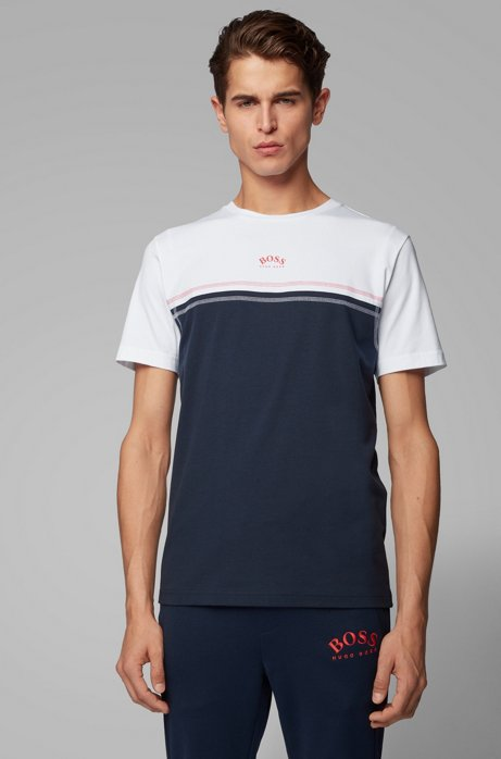 Stretch-cotton T-shirt with contrast stitching and curved logo, Dark Blue