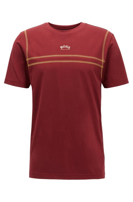 Stretch-cotton T-shirt with contrast stitching and curved logo, Dark Red