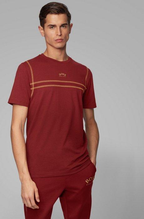 T-shirt van stretchkatoen met contraststiksels en gebogen logo, Donkerrood