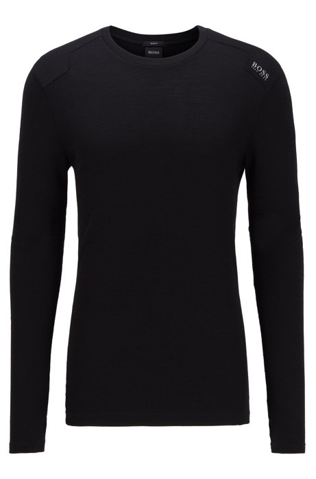 Slim-fit T-shirt in mesh van merinowol, Zwart