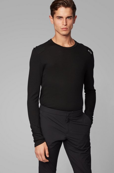 Slim-fit T-shirt in merino-wool mesh, Black