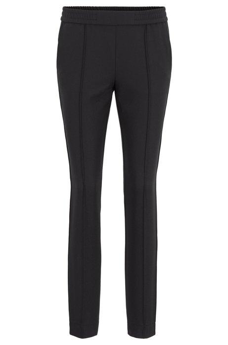 Relaxed-Fit Hose aus Stretch-Krepp mit seitlichem Tape, Schwarz