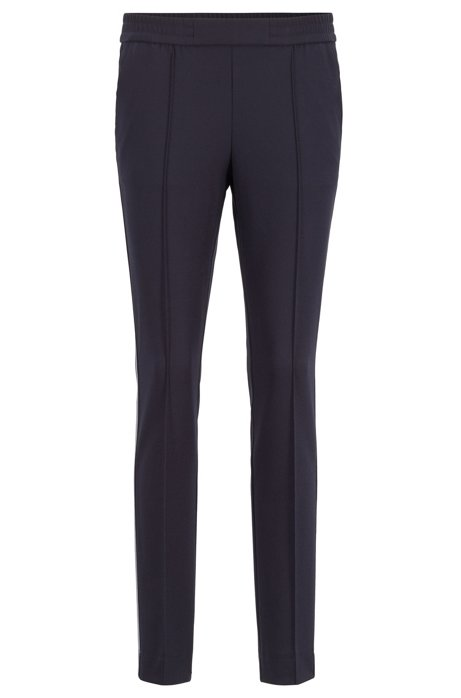 Pantalon Relaxed Fit en crêpe stretch à galon, Bleu foncé