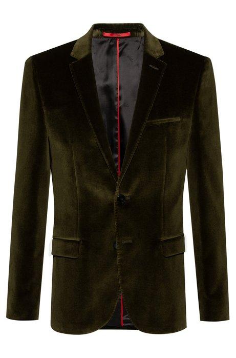 Extra-slim-fit jacket in cotton velvet, Dark Green
