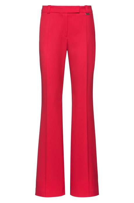 Regular-fit trousers with kick-flare hems, Red