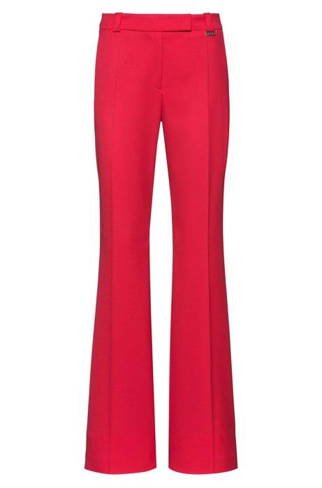 Pantalones regular fit con bajos acampanados, Rojo