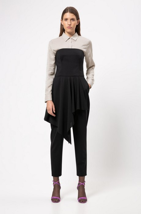 Sleeveless jumpsuit in stretch wool with volant detail, Black