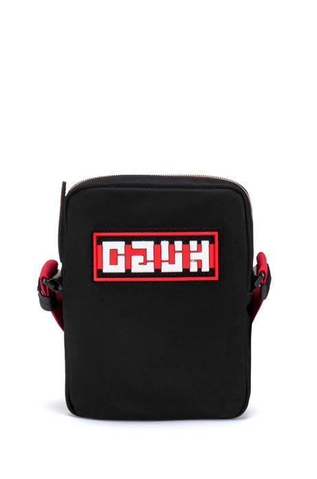 Reporter-Tasche aus Nylon-Gabardine mit Reversed-Logo, Schwarz
