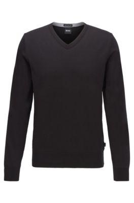 Jersey con cuello en pico de algodón puro, Negro